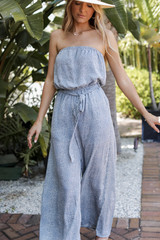 Light Blue - Spotted Strapless Jumpsuit