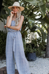 Spotted Strapless Jumpsuit Front View on model