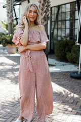 Model wearing a blush Spotted Jumpsuit
