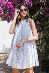 Blue - Tiered Floral Dress from Dress Up