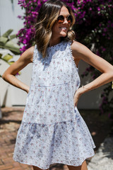 Model wearing a Tiered Floral Dress