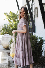 Tiered Midi Dress Side View on model