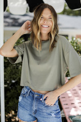 Olive - Cropped Tee Front View