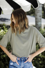 Olive - Cropped Tee Front View on model