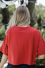 Cropped Tee in Rust Back View