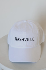 Nashville Embroidered Cap in White Front View