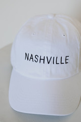 White - Close Up of a Nashville Embroidered Cap