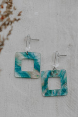 Teal - Flat Lay of Acrylic Statement Earrings