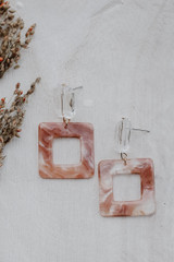 Taupe - Close Up of Acrylic Statement Earrings
