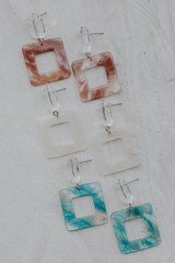 Flat Lay of all 3 colors of the Acrylic Statement Earrings