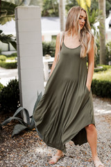 Olive - Jersey Maxi Dress Front View on model