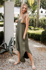 Olive - Jersey Maxi Dress Front View