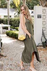 Jersey Maxi Dress in Olive Side View