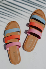 Flat Lay of Strappy Slide Sandals in Blue