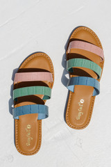 Flat Lay of Strappy Slide Sandals in Pink