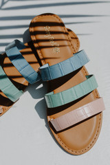 Close Up of Strappy Slide Sandals