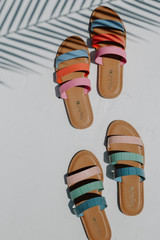 Flat Lay of both colors of the Strappy Slide Sandals