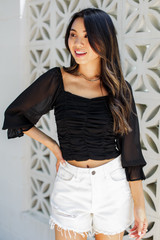 Black - Ruched Cropped Blouse