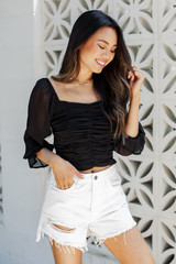 Black - Ruched Cropped Blouse from Dress Up