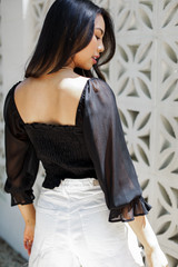 Black - Ruched Cropped Blouse Back View