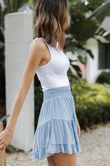 Smocked Tiered Mini Skirt in Denim Side View