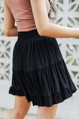 Smocked Tiered Mini Skirt in Black Side View