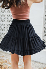 Smocked Tiered Mini Skirt in Black Back View