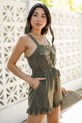 Olive Green Romper Side View