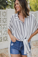 Black - Striped Button-Up Top