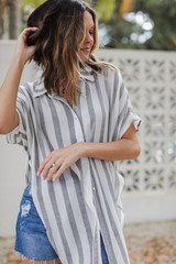 Dress Up model wearing a Striped Button-Up Top