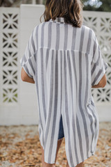 Striped Button-Up Top Back View