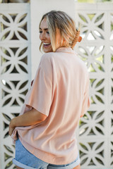 Linen Button-Up Top Back View