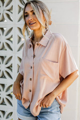 Linen Button-Up Top Front View