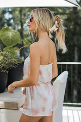 Tie-Dye Strapless Romper in Coral Side View