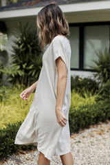 Linen Midi Dress in Natural Side View