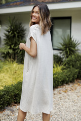 Linen Midi Dress in Natural Back View