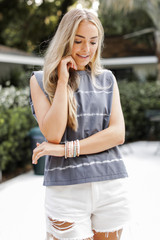 Charcoal - Tie-Dye Shoulder Pad Muscle Tee from Dress Up
