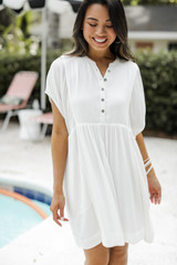 Babydoll Dress in White Front View