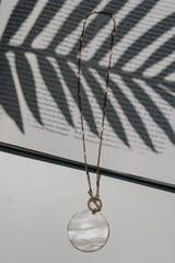 Flat Lay of a Shell Necklace