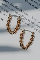 Gold - Twisted Drop Earrings from Dress Up
