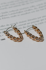 Flat Lay of Gold Twisted Drop Earrings