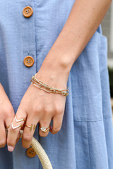 Model wearing a Gold Layered Chain Bracelet