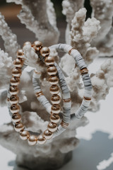 Close Up of a Beaded Bracelet Set in Grey