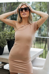 Nude - Model wearing a Ribbed Bodycon Dress