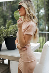 Ribbed Bodycon Dress in Nude Side View