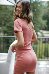 Ribbed Bodycon Dress in Coral Back View