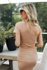 Ribbed Bodycon Dress in Nude Back View