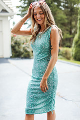 Floral Ruched Mini Dress in Sage Side View