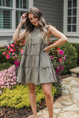 Ruffle Dress in Olive Front View
