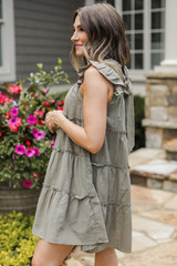 Ruffle Dress in Olive Side View